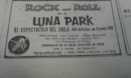 Aviso en el diario La Razón del Concurso de Rock And Roll del Luna Park